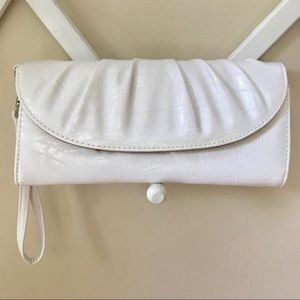 Style & Co white clutch with mirror and coin purse
